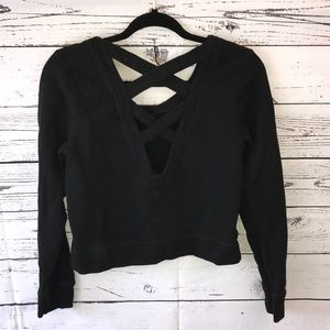 LUCY Black Cropped Sweater with Crossed Straos